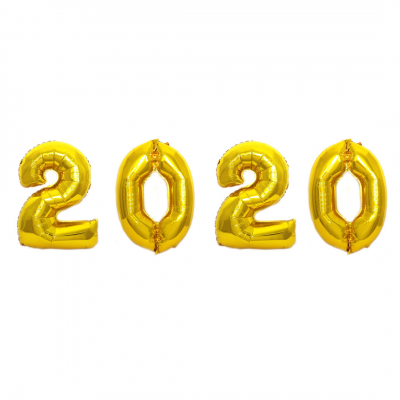 XXL Ballon Gold Zahl: 2020 (Set)