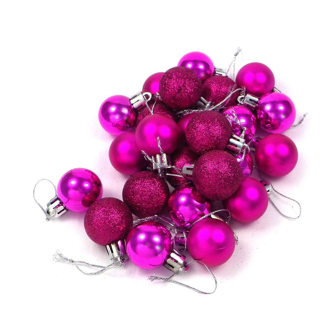 Weihnachtskugeln Pink.24 Kleine Weihnachtskugeln Beere